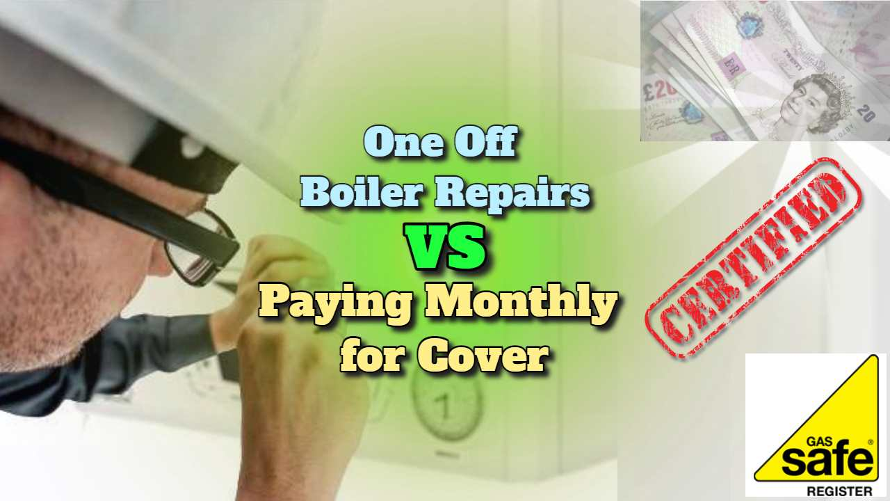 """Featured image text: """"One off boiler repairs vs paying monthly for a cover plan""""."""